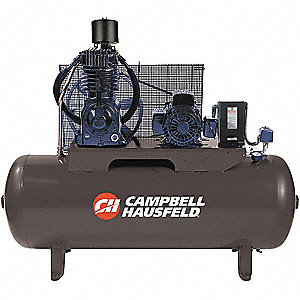 3 Phase Horizontal Tank Mounted 5HP Electric Air Compressor, 80 gal., 175 psi