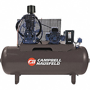 7-1/2 HP,  80 gal. Horizontal Splash Lubricated Tank Mounted Electric Air Compressor, CFM: 24.3
