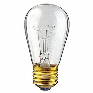11.0 Watts Incandescent Lamp, S14, Medium Screw (E26), 60 Lumens, 2800K Bulb Color Temp., 1 EA