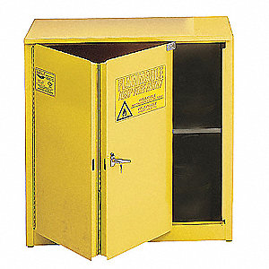 "43"" x 18"" x 44"" Galvanized Steel Flammable Liquid Safety Cabinet with Self-Closing Doors, Yellow"