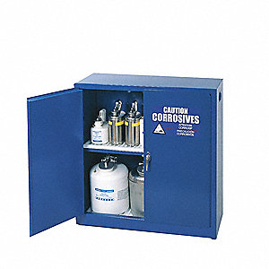"43"" x 18"" x 44"" Galvanized Steel Corrosive Safety Cabinet, Blue"