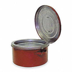 Bench Can,1 Qt.,Galvanized Steel,Red