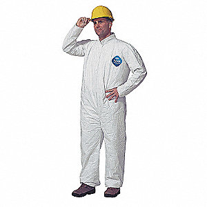 Collared Disposable Coveralls with Open Cuff, White, XL, Tyvek®