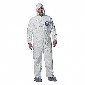 Hooded Disposable Coveralls with Elastic Cuff, White, 3XL, Tyvek®
