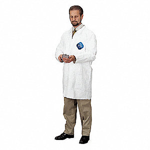 White, Tyvek®, Disposable Lab Coat, Size: XL