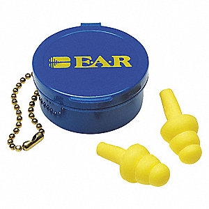 25dB Reusable Flanged Shape Ear Plugs&#x3b; Without Cord, Yellow, Universal