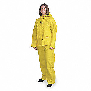 "Unisex Yellow PVC 3-Piece Rainsuit with Detachable Hood, Size: 3XL, Fits Chest Size: 60"" to 62"""