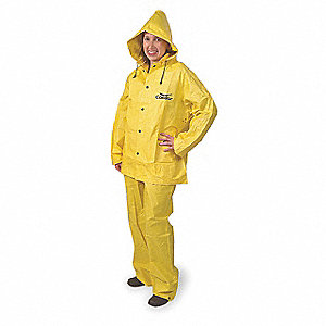 "Unisex Yellow PVC 3-Piece Rainsuit with Detachable Hood, Size: L, Fits Chest Size: 48"" to 50"""