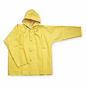 "Unisex Yellow SBR Rubber Rain Jacket with Hood, Size 4XL, Fits Chest Size 70"", 33"" Jacket Length"