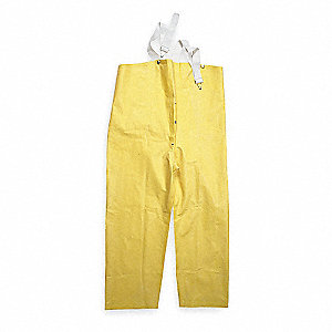 Rain Bib Overall, High Visibility: No, ANSI Class: Unrated, Rubber, L, Yellow