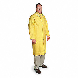 "Unisex Yellow SBR Rubber Rain Coat, Size XL, Fits Chest Size 56"", 47"" Jacket Length"