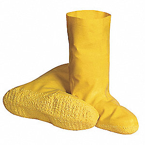 "12""H Men's Hazmat Overboots, Plain Toe Type, Latex Upper Material, Yellow, Size L"