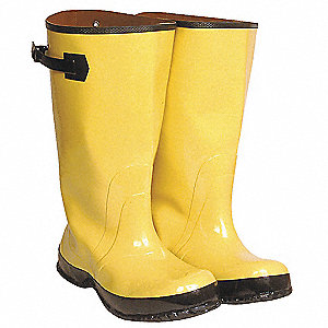"17""H Men's Overboots, Plain Toe Type, Rubber Upper Material, Yellow/Black, Size 11"