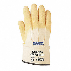 Natural Rubber Latex Cut Resistant Gloves, ANSI/ISEA Cut Level 2, Cotton Lining, Yellow, XL, PR 1