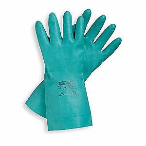 Nitrile Chemical Resistant Gloves, 15 mil Thickness, Flock Lining, Size 11, Green, PR 1