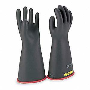 Black Exterior/Red Interior Electrical Gloves, Natural Rubber, 2 Class, Size 9