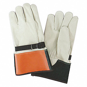 "Electrical Glove Protector, Beige/Orange/Green, Cowhide Leather, 12"" Length"