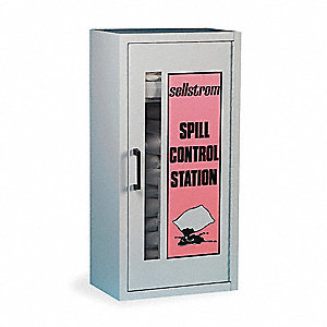 Spill Kit/Station, Wall Mounted Cabinet, Chemical, Hazmat, 5 gal.