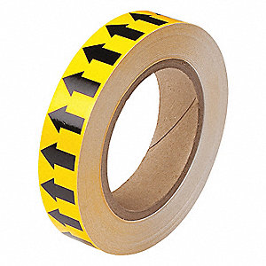 "Arrow Tape, Black/Yellow, Vinyl, 1"" x 90 ft."