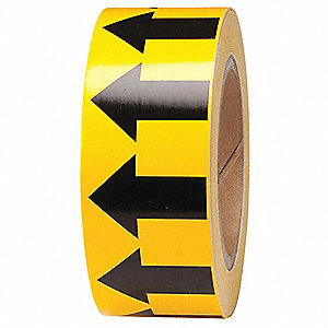 "Arrow Tape, Black/Yellow, Pressure Sensitive Vinyl, 2"" x 90 ft."