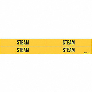 Pipe Marker,Steam,Yellow,3/4 to 2-3/8 In