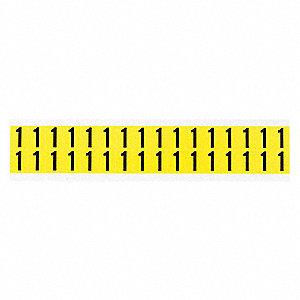 "Carded Number, 1, Black On Yellow, 5/8"" Character Height, 32 PK"