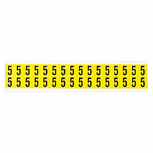 "Carded Number, 5, Black On Yellow, 5/8"" Character Height, 32 PK"