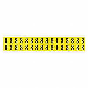 "Carded Number, 8, Black On Yellow, 5/8"" Character Height, 32 PK"