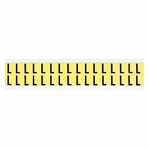 "Letter Label, L, Black On Yellow, 5/8"" Character Height, 32 PK"