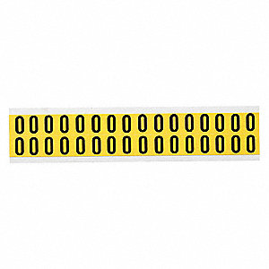 "Letter Label, O, Black On Yellow, 5/8"" Character Height, 32 PK"