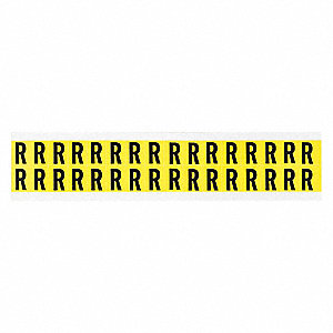 "Letter Label, R, Black On Yellow, 5/8"" Character Height, 32 PK"