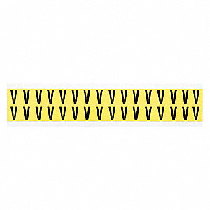 "Letter Label, V, Black On Yellow, 5/8"" Character Height, 32 PK"