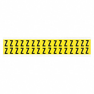 "Letter Label, Z, Black On Yellow, 5/8"" Character Height, 32 PK"