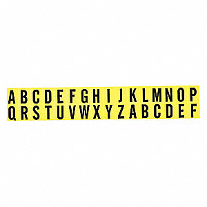 "Letter Label Kit, A Thru Z, Black On Yellow, 5/8"" Character Height, 25 PK"