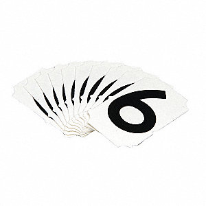 "Carded Number, 6, Black, 2"" Character Height, 10 PK"