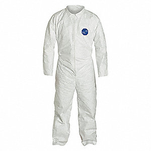Collared Disposable Coveralls with Open Cuff, White, 2XL, Tyvek® 400