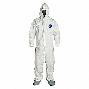 Hooded Coverall w/Attached Boot,White,XL