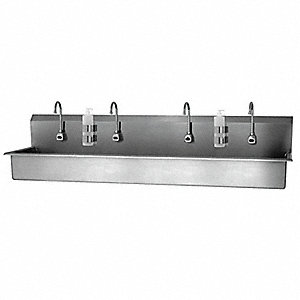 "Wall Hands Free Sink, 77"" x 16-1/2"" x 8"" Bowl Size"
