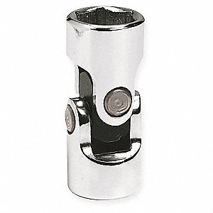 "3/4"" Alloy Steel Flex Socket with 1/2"" Drive Size and Chrome Finish"