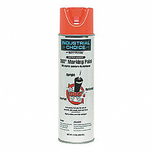 Water-Base 360 Degree Marking Paint, Fluorescent Red-Orange, 17 oz.
