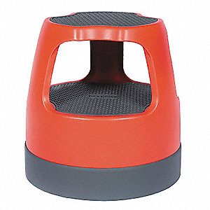 "Plastic Round Office Stool, 15"" Overall Height, 300 lb. Load Capacity, Number of Steps: 2"