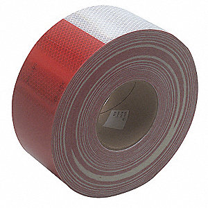 Reflective Tape,  3 in. Wht/Red,  Truck