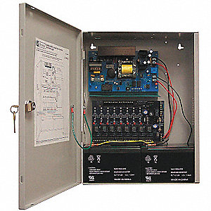 Steel Power Supply 8PTC 12VDC Or 24VDC @ 6A with Gray Finish