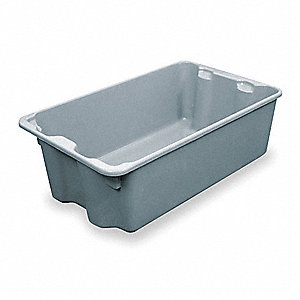 "Heavy Duty Stack and Nest Container, Fiberglass Reinforced Composite, 24-1/4"" Outside Length"