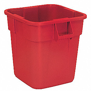 "BRUTE® 28 gal. Square Open Top Utility Trash Can, 22-1/2""H, Red"