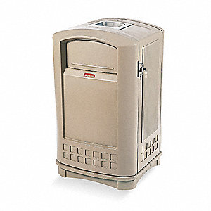 50 gal. Rectangular Beige Ash/Trash Can