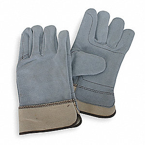 Cowhide Leather Work Gloves, Safety Cuff, Pearl Gray, Size: S, Left and Right Hand