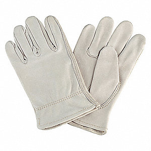 Cowhide Drivers Gloves, Shirred Wrist Cuff, Cream, Size: XL, Left and Right Hand