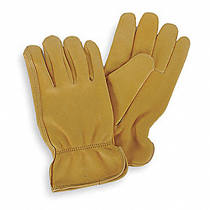Deerskin Leather Driver's Gloves with Shirred Cuff, Gold, S