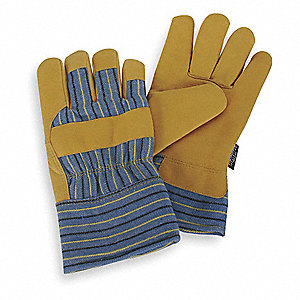 Cold Protection Gloves, Thinsulate Lining, Safety Cuff, Gold Yellow/Blue Stripes, L, PR 1
